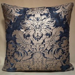 """Pair of Fortuny Dandolo Midnight Blue & Silvery Gold Throw Pillow Covers - These pretty cushion covers are handmade with love and care in the """"Ad un passo dai Miracoli"""" studio, a small decorative shop/studio in the city of Venice - Italy, close to the beautiful St. Mark's Square, using Fortuny fabric Dandolo pattern in Midnight Blue & Silvery Gold color"""