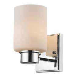 Dolan Designs - Chloe Chrome One Light Bath Vanity - - Bulb Not Included  - Glass/Shade: Satin White Glass  - Wire Length: 9 Inch Dolan Designs - 3881-26