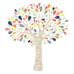 the lovely wall co - Whimsical Tree - Removable Wall Decal - Self Adhesive Vinyl, Navy Lime Orange - Whimsical Tree - Wall Decal