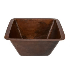 """Premier Copper Products - Premier Copper Products BS15DB2 15"""" Square Hammered Copper Bar Sink - Uncompromising quality, beauty, and functionality make up this Premier 15"""" Square Hammered Copper Bar Sink with a 2"""" Drain Opening."""