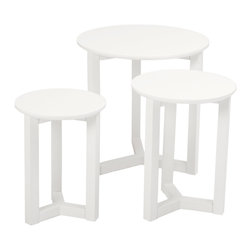 Eurostyle - Nicolo Nesting Tables-Wht - This trio of accommodating tables allows you to decide how they should nest and how they should be displayed — keep them separated or create your own interlinked design. Crisp white surfaces also let decorative items share the spotlight.