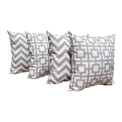 Land of Pillows - Zig Zag Chevron Gray and Gigi Grey Outdoor Decorative Throw Pillow - 4 Pack, 16x - Fabric Designer - Premier Prints