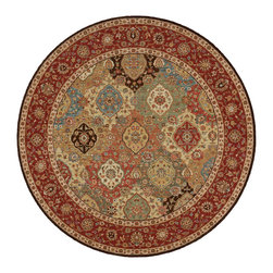 """Nourison - Nourison Living Treasures LI03 7'10"""" x 7'10"""" Multicolor Area Rug 67442 - The beauty is in the details of this elegantly conceived rug that dazzles the eye with jewel tones. An overlapping cartouche pattern suggests rich abundance. Ruby red, shimmering turquoise, gleaming ivory, earthy brown and soft green mingle in marvelous multicolor harmony."""
