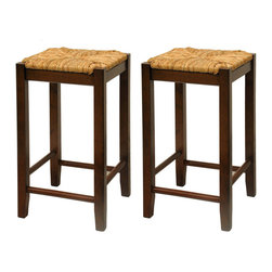 Winsome Wood - Winsome Wood Set of 2 - 24 Inch Rush Seat Stool - This classic design stool has woven rush seat top with its broad square seat. Its adds traditional feel to any kitchen. Warm walnut finish.  Barstool (2)