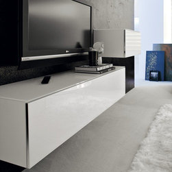 Cattelan Italia - Cattelan Italia | Iceberg Credenza, 55-Inch - Made in Italy by Cattelan Italia.Decorate your room with the up-most in luxury with the Iceberg Credenza that is suitable for both the floor and wall hanging. Like its shorter counter part, the Iceberg Low Credenza which is 14 inches in height, the Iceberg Credenza exudes charm and sophistication. This highly versatile and unique credenza will deliver a much needed modern focal point to your living space. Minimalism at its best, it is crafted in lacquered wood with satin aluminum door frames and glass doors. Choose from a variety of sizes and colors, each with internal glass shelves, to store and display all your accessories.