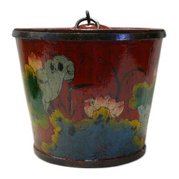 Golden Lotus - Chinese Red Color Floral Round Wood Handle Bucket - This is an old oval wood bucket with new paint. It is a charm oriental decorative piece for home. ( hand-painted item, there is variation in graphic )