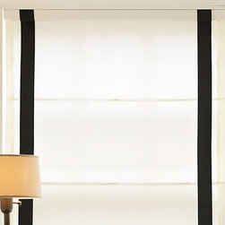 Grosgrain Ribbon Cordless Roman Shade - Cordless Roman shades have a tailored look and don't distract from any eye-catching furniture, rugs or artwork you may have. Use these if you are looking for a muted window treatment to blend into the background.