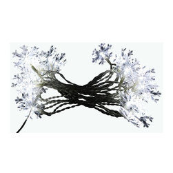 Alpine - Display 8 Snowflake String Lights with 20 White LED Lights - Feel the beauty of a white christmas in this snowflake string lights. It magically turns your decore into a glowing piece of elegance.Features: