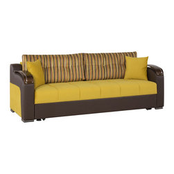 Casamode Furniture - Divan Deluxe Signature Sofa Bed | Sarp Mustard - Upholstered in two-tone Mustard fabric and brown leatherette, Divan Deluxe Signature functional sofa bed will improve the look of your casual living room. 3 functions in one, including seating, storing and sleeping, along with the compact and functional design makes the it functional more than a standard sofa. Click-clack mechanism allows for easy conversion from sofa to a bed.