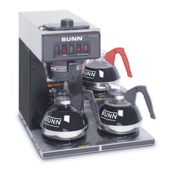 BUNN Products - Pourover Commercial Coffee Brewer in Black w - Decanters not included. Brews 3.8 gallons of perfect coffee per hour. Portable. No plumbing required for brewer. Splashguard funnel deflects hot liquids away from hand. Quick and easy clean up. Total wattage: 1670 WPourover Commercial Coffee Brewer with Three Lower Warmers perfect for convenience stores, family restaurants, cafes or diners. Totally portable, it can be used anywhere there's a plug! Just pour cold water in the top and coffee brews immediately, up to 3.8 gallons per hour directly into standard 64-ounce decanters.