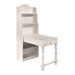 Lea Industries - Lea Hannah Bookcase Desk in White - A bookcase with a built-in desk? How cool is that! A super solution for limited space in your best girl's room. Homework? Done!