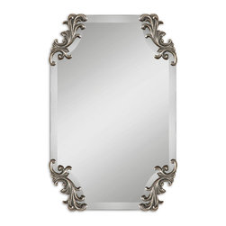 Uttermost - Andretta Baruque Silver Mirror - More than just an ordinary looking glass, this mirror is one of those room defining pieces you always hear about. The elegant shape and the antiqued silver decorative corners of this frameless mirror will shine over the fireplace, or go to work beautifully in the powder room or hallway.