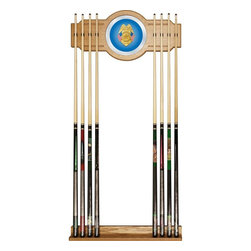 Trademark Global - Police Officer Billiard Cue Rack w Mirror - Holds upto eight cues. 10.5 in. Dia. and 8 in. full color logo on mirror. Made from wood. Veneered oak finish. No assembly required. Base: 28 in. W x 3 in. D x 3.12 in. H. Top: 28 in. W x 1.75 in. D x 13.25 in. H. Overall: 13 in. W x 4 in. D x 30 in. H (9 lbs.)You have a great pool table and all the accessories, but you can walk through your game room without tripping over pool cues. Why not treat yourself to this officially licensed high-end furniture grade cue rack. Protect your cue tips along with the pictures on the wall while supporting one of your favorite teams. There will be no more looking around the room to find the break stick with this officially licensed cue rack on your wall.
