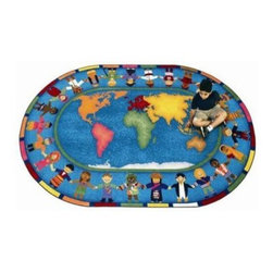 Joy Carpets Hands Around the World Kids Area Rug - The Hands Around the World Carpet introduces kids to geography and culture in a colorful way. A map of the continents sits at the center and children from around the world are dressed in fun native costumes as they hold hands around the border.Sizes available:5 feet 4 inches x 7 feet 8 inches (oval) 5 feet 4 inches x 7 feet 8 inches (rectangular)7 feet 8 inches x 10 feet 9 inches (oval)7 feet 8 inches x 10 feet 9 inches (rectangular)10 feet 9 inches x 13 feet 2 inches (oval)10 feet 9 inches x 13 feet 2 inches (rectangular).This carpet features SoftFlex backing which is an air-texturized polypropylene secondary backing that's designed to withstand the most demanding situations. SoftFlex is woven tightly yet is still extremely flexible which helps eliminate wrinkles and provide superior protection and insulation underfoot.JoyTuff carpets are Stainmaster-protected and ideal for home or office use. They are constructed from Stainmaster BCF Type 6 6 two-ply nylon and feature advanced protection against stain and soil as well as Impervion mold and mildew protection. This carpet is bound and serged for maximum durability and features a SoftFlex back plus a Class I Flammability rating. To maintain simply vacuum regularly and use hot water extraction cleaning as required.This carpet includes the following warranties:Lifetime limited wear warrantyLifetime limited antimicrobial protectionLifetime limited static protection10-year limited dual technology soil and stain protectionDedicated to Environmental StewardshipJoy Carpets understands the importance of environmental stewardship and its relationship to a successful business. We are committed to operating our facilities in an environmentally sustainable manner and in a manner that protects the health and safety of our associates and the public.Our environmental commitment is driven by a holistic approach to sustainable operations not simply focusing on recycling alone. Joy Carpets reaches beyond recycling in an effort to reduce our company's environmental footprint. Our vision and progress to achieving the goal of full sustainability focuses on the following:Environmentally friendly productsReview of our products' supply chainExtending product life cycleUse of recycled packagingReducing waste to landfillReducing energy consumption and water usageUse of alternative energy sources'No carpet to landfill' commitmentRecycling carpet into new productsDonating carpet for charitable re-useAdditionally Joy Carpets is committed to establishing a strong foundation of environmental values with our families associates and communities to ensure the long-term conservation of our earth's natural resources.About Joy CarpetsJoy Carpets is the leader in specialty broadloom modular carpet rugs and mats in creative and eye-catching designs. Joy takes pride in providing first-rate floor coverings for residential educational hospitality healthcare and commercial markets. The pioneer of fine gauge tufting Joy Carpets introduced the first recreational carpeting to the industry in 1973 and since that time has been known for their commitment to cutting edge technology and design. Joy Carpets are proudly made in the United States and sold worldwide. Choose Joy Carpets for superior service and unique fun products that enhance your decor and give you fantastic flooring in an instant.