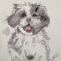 """Chicken Scratch """"Shi Tzu"""" Ink And Watercolor  (Original) by Valerina Lomax - I love creating a modern piece of art based on man most beloved pet. I like to mix my mediums to create something unique but still show emotion and feeling of my subject."""