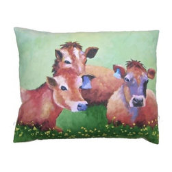 Robin Rowe - Buttercups & Cows Accent Pillow - An easy, breezy way to add freshness and color to any room in your home is with Indeed Decor's buttercups & cows accent pillow.  Adding two or three accent pillows to your sofa or bed is an easy and inexpensive way to transform a room with bright and cheerful spring hues. A selection of Robin Rowe's original paintings are now printed on linen for a new line of designer pillows. The linen pillow back displays a stitched woven damask label of the Roweboat logo. The pillow is a down blend with an invisible zipper for easy cleaning. All pillows are Made in the USA. Each stunning pillow is offered in three sizes.  These pillows make much appreciated gift, if you can bear to part with one.