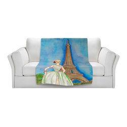 DiaNoche Designs - Throw Blanket Fleece - Diana Evans Jadore Vintage Paris III - Original Artwork printed to an ultra soft fleece Blanket for a unique look and feel of your living room couch or bedroom space.  DiaNoche Designs uses images from artists all over the world to create Illuminated art, Canvas Art, Sheets, Pillows, Duvets, Blankets and many other items that you can print to.  Every purchase supports an artist!