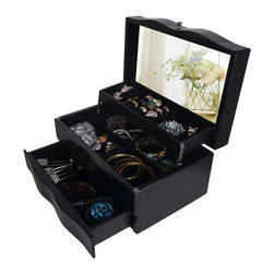 GLD - Jewelry Box Mirrored Jewelry Organizer Cosmetics Box Cabinet, Black - The Mini Style Mirror Jewelry Armoire is the perfect and fashion way to organize all your jewelry and accessories! Now you can store and organize all your jewlery and beauty essentails. No longer will mornings be a stressful hunt for matching earrings, bracelets, necklaces, now you will find them hanging at eye level. You will have fun adding your jewelry collection to this armoire. This item is MDF wood Material with painting,no halmful to health and environment. Small size design with free standing ,can put on your table