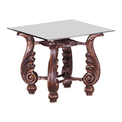 Yuan Tai - Gamma End Table w Glass Top - Square shaped table. Rod iron legs. Intricate carvings. Warranty: Six months manufacturer includes warping and seasonal wood splitting. Made from solid and wood veneer. Bronze finish. Assembly required. 21 in. W x 21 in. D x 21 in. H (17 lbs.)