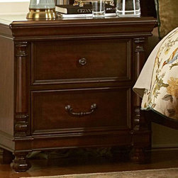 Homelegance - Homelegance Isleworth 28 Inch Nightstand in Dark Brown - The Isleworth Collection is a traditional bedroom in a warm dark brown finish featuring intricate veneer patterns with walnut veneer inlay and subtle 19th Century styling. The dresser features a breakfront construction with four posts along the front of t - 1403-4.  Product features: Belongs to Isleworth Collection; Traditional bedroom; Warm dark brown finish; Veneer patterns with walnut veneer inlay; Dresser features a breakfront construction with four posts along the front of the case; 2 Drawers. Product includes: Nightstand (1). 28 Inch Nightstand in Dark Brown belongs to Isleworth Collection by Homelegance.