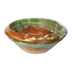"Decolav - Decolav 16""Round Vessel, Green - Decolav 1650-O-GBR 16-Inch Round Decorative Trim Tapered Stone Vessel, Green"