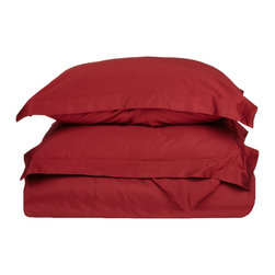 300 Thread Count Egyptian Cotton Full/Queen Red Solid Duvet Cover Set - 300 Thread Count Egyptian Cotton Full/Queen Red Solid Duvet Cover Set