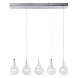 ET2 Lighting - Larmes 5-Light Pendant - Dance, eat, sing, do homework, check your email — do whatever you want in the rain when you sit under a pendant light such as this one. Elegant glass teardrops of light illuminate the area below in a custom stagger effect creating a feasible way to dance in between the drops of light.