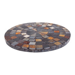 New Rustics - New Rustics Mosaic Lazy Susan in Slate - This new collection brings an artsy street-style cafe look to any outdoor living space. Handmade with wrought iron and unusual handcut rustic slate, pebbles, and glazed tile inlay patterns, these pieces also compliment indoor decor with natural colors and streamlined designs.