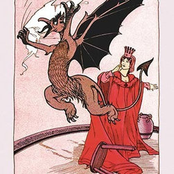 """Buyenlarge.com, Inc. - Gryphon and Ozma- Fine Art Giclee Print 24"""" x 36"""" - John Rea Neill (1877 - 1943) was a magazine and children's book illustrator primarily known for illustrating more than forty stories set in the Land of Oz, including L. Frank Baum's, Ruth Plumly Thompson's, and three of his own. His pen-and-ink drawings have become identified almost exclusively with the Oz series."""