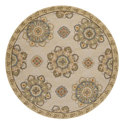 Surya - Hand Hooked Rain Rug RAI-1072 - 8' Round - Rain or shine, these rugs look great outdoors! These hand hooked all weather rugs are manufactured to withstand the rigors of outdoor use. You don't need to worry about ruining your rug by spilling a drink or dropping food, just hose off and it's clean! The colors and designs we specially created to add to the outdoor ambiance.