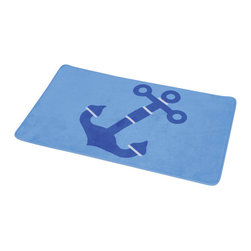 Printed Microfiber Bath Rug Key West Blue - This printed microfiber bath rug Key West is 100% polyester. Ultra-soft touch and sophisticated in any bathroom with its maritime patterns, this bath rug prevents slips with its PVC non-skid backing. Machine wash cold and no dryer. Width 17-Inch and length 29.5-Inch. Indoor use only. Color blue. Add underfoot softness and a perfect finishing touch to your bathroom decor with this trendy microfiber bath rug! Complete your Key West decoration with other products of the same collection. Imported.