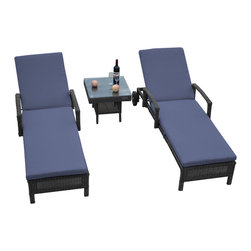 "Reef Rattan - Reef Rattan 3 Piece Islander Chaise Lounger Set Grey Rattan / Ocean Blue Cushion - Reef Rattan 3 Piece Islander Chaise Lounger Set Grey Rattan / Ocean Blue Cushions. This patio set is made from all-weather resin wicker and produced to fulfill your needs for high quality. The resin wicker in this patio set won't fade, shrink, lose its strength, or snap. UV resistant and water resistant, this patio set is durable and easy to maintain. A rust-free powder-coated aluminum frame provides strength to withstand years of use. Sunbrella fabrics on patio furniture lends you the sophistication of a five star hotel, right in your outdoor living space, featuring industry leading Sunbrella fabrics. Designed to reflect that ultra-chic look, and with superior resistance to the elements in a variety of climates, the series stands for comfort, class, and constancy. Recreating the poolside high end feel of an upmarket hotel for outdoor living in a residence or commercial space is easy with this patio furniture. After all, you want a set of patio furniture that's going to look great, and do so for the long-term. The canvas-like fabrics which are designed by Sunbrella utilize the latest synthetic fiber technology are engineered to resist stains and UV fading. This is patio furniture that is made to endure, along with the classic look they represent. When you're creating a comfortable and stylish outdoor room, you're looking for the best quality at a price that makes sense. Resin wicker looks like natural wicker but is made of synthetic polyethylene fiber. Resin wicker is durable & easy to maintain and resistant against the elements. UV Resistant Wicker. Welded aluminum frame is nearly in-destructible and rust free. Stain resistant sunbrella cushions are double-stitched for strength and are fully machine washable. Removable covers made with commercial grade zippers. Tables include tempered glass top. 5 year warranty on this product. Chaise Lounger (2): W 29"" D 78"" H 10"", Coffee Table: W 20"" D 18"" H 10"""