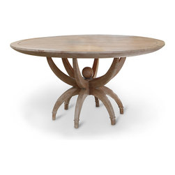 Kathy Kuo Home - Atticus Limed Oak Contemporary Round Dining Table - A warm, inviting table with enough room for family and friends, this contemporary round oak masterpiece will be the center of your dining room. The sandblasted putty wash adds a touch of country charm to the impressive oak piece. Six legs in a pedestal arrangement allow ample legroom for your lingering guests.