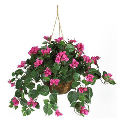 Bougainvillea Hanging Basket Silk Plant - Want to add a touch of decorative spice to your home? Well, this carefully crafted South American bougainvillea hanging basket will do just that, and is sure to be a hit among family and friends. Three delicate pastel petals surround a mix of tiny cream colored flowers. Lush alternating ovate leaves are a nice compliment to this otherwise feminine styled arrangement. Long cascading vines extend gracefully around a traditional wicker planter. Height= 24 in x Width= 32 in x Depth= 32 in
