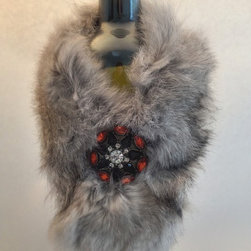 Wine Bottle Couture - Multicolored rabbit fur wrap lined with black satin. Secured with an elegant brooch.