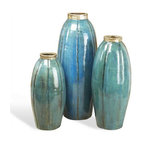 Interlude Home - Interlude Home Paria Vases - Ocean - These Interlude Home Vases are crafted from Ceramic and finished in Antique Silver and Teal.  Overall sizes are: 9 in. W x  9 in. D x 24 in. H.  8 in.  in. W x  8 in.  in. D x  20 in. H.  8 in. W x  8 in. D x  16 in. H.