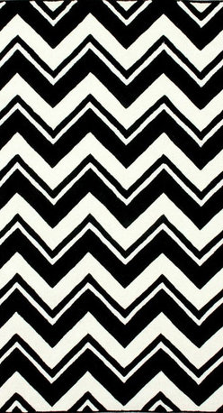 Nuloom - nuLOOM Handmade Modern Black/ White Chevron Rug (7'6 x 9'6) - This handmade wool area rug uses subtle and modern colors to match today's interiors. Plush wool pile offers great comfort under foot.