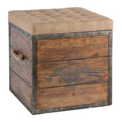 Kathy Kuo Home - French Country Wood Crate Burlap Top Cube Ottoman - This old wood crate look has a tufted burlap removable top and woven handle. The crate is lined in rustic distressed metal and nailed into place.
