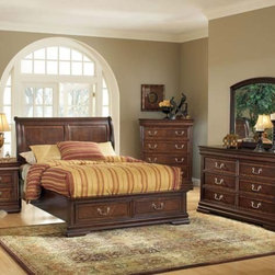 Acme Furniture - Hennessy Brown Cherry 5 Piece King Bedroom Set with Storage - 1 - Set includes California King Bed, Dresser, Mirror, Nightstand and Chest