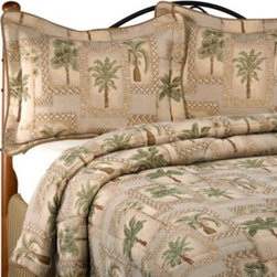 Kimlor Mills - Palm Grove Comforter Set - Comforter set brings a relaxing, tropical feel to your bedroom with a cool palm tree design. Made of upholstery grade fabric your bed will have that designer look.