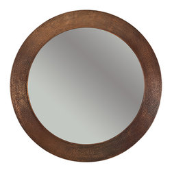 "Premier Copper Products - 34"" Hand Hammered Round Copper Mirror - Uncompromising quality, beauty, and functionality make up this Hand Hammered Copper Round Mirror Frame.  Our hand made copper mirrors complement a wide variety of styles and colors."
