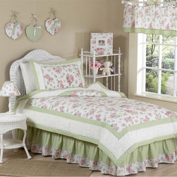 Sweet Jojo Designs - Sweet Jojo Designs Girls 'Riley's Roses' 4-piece Twin Comforter Set - The Riley's Roses twin bedding set by Sweet Jojo Designs has all that your little one will need. Sage green and pink roses adorn this set as well as gorgeous white chenille. This Sweet Jojo Designs set is machine washable for easy care and repeated use.
