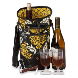 """Picnic Plus - Palmetto Single Wine, Provence Flair - Picnic Plus Palmetto Single Bottle Wine Bag With 2 Glasses, Provence Flair. Color/Design: Provence Flair; Classy container for your chardonnay or Chablis; Fully insulated tote holds 1 bottle; Includes 2 acrylic wine goblets and a wooden handle corkscrew opener. Dimensions: 6""""W x 5""""D x 14""""H"""