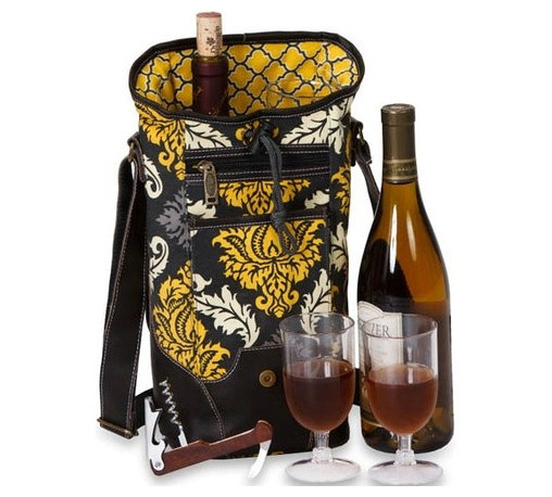"Picnic Plus - Palmetto Single Wine, Provence Flair - Picnic Plus Palmetto Single Bottle Wine Bag With 2 Glasses, Provence Flair. Color/Design: Provence Flair; Classy container for your chardonnay or Chablis; Fully insulated tote holds 1 bottle; Includes 2 acrylic wine goblets and a wooden handle corkscrew opener. Dimensions: 6""W x 5""D x 14""H"