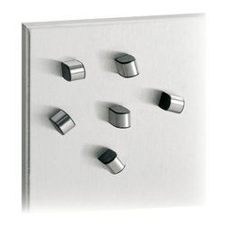 Blomus - TEWO Set of 6 Magnets by Blomus - An understated yet unique way to keep your memos front and center. The Blomus TEWO Set of 6 Magnets is a great way to keep everything from postcards to receipts and photographs firmly in place on the refrigerator or magnet board. Check out the MURO Magnet Board for a stainless steel complement. Blomus, headquartered in Germany, specializes in the design and manufacture of beautifully engineered home and office accessories in modern stainless steel styles.