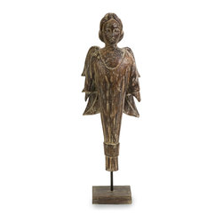 Gothic Wood Carved Standing Angel - *Bold lines and old world styling give this unique winged statue a Gothic flare.