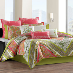 Echo - Echo Gramercy Paisley Comforter Set - The Gramercy Paisley Bedding collection is a vibrant overscaled paisley scarf pattern printed on soft, 100% cotton. The comforter is reversible with a bright overscaled paisley print on one side featuring pinks and green with accents of orange and white, while the reverse has smaller green paisley motifs tossed onto a pink ground color. The comforter features a tackless finish, which offers a clean finish on your comfoter without any stitching to distract from the beauty of this comforter. Most of the decorative accents include embroidery details. Comforter and sham: Face: 100% cotton sateen fabric; Back: T180 100% cotton plain printed; Bedskirt drop: 100% cotton, plain printed; Platform: 80%poly 20%cotton