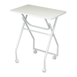 Furinno - Furinno 11044 Easi Folding Tray Table, White/White - Furinno Easi Folding Portable Desk is designed for space saving and budget saving concept. It takes up ply minimum storage space when not in use. The wheels stay firm and roll smoothly on short carpet, wood floor and tiles. There are two-front locking wheels. This unit blends in very well in any room decor and looks trendy at the same time. This series are made of Particleboard made from recycled materials of rubber trees, eco-friendly. All the materials are manufactured in Malaysia and comply with the green rules of production. There is no foul smell, durable and the material is the most stable amongst the particleboards. A simple attitude towards lifestyle is reflected directly on the design of Furinno Furniture, creating a trend of simply nature. All the products are produced and assembled 100-percent in Malaysia with 95% - 100% recycled materials. Care instructions: wipe clean with clean damped cloth. Avoid using harsh chemicals.  Pictures are for illustration purpose. All decor items are not included in this offer.