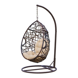 Great Deal Furniture - Berkley Outdoor Swinging Egg Chair - Add a unique touch with this fun swinging chair. Built from thick brown meshed wicker, this chair will have you cradled and swinging in comfort as you enjoy your backyard or patio, complete with beige cushions for extra comfort.