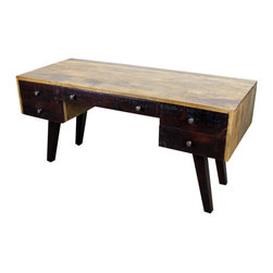 """Retro Desk - This Retro Desk Desk is part of our newest lines of furniture. Clean vintage inspired lines, exclusive designs and as always, 100% solid wood construction. Each Piece is a Beautiful Unique Piece of Art! No two items are ever the same, expect some variations in color, it only adds to their charm and originality! The Retro Desk is perfect for a dorm room, small house or an apartment. For larger homes, perhaps this goes well as a guest room office accent, small home office or maybe for a much needed """"office"""" just off the kitchen? Many options with this versatile desk. Approximate"""